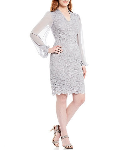 Jessica Howard Lace Illusion Long Sleeve Glitter V-Neck Sheath Dress