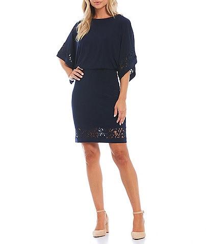 Jessica Howard Lace Inset Round Neck 3/4 Dolman Sleeve Jersey Blouson Dress