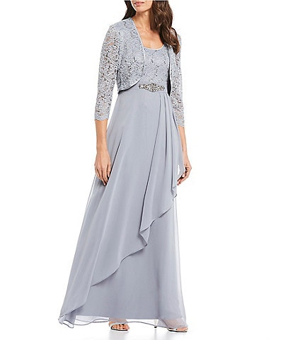 Jessica Howard Lace Jacket and Embellished Waist Ruffled Chiffon 2-Piece Gown
