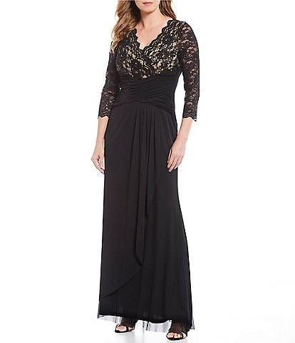 Jessica Howard Lace V-Neck Bodice Ruched Waist Gown