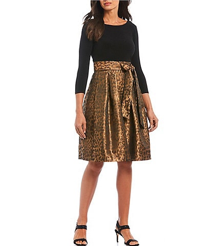 Jessica Howard Leopard Print Fit & Flare Dress