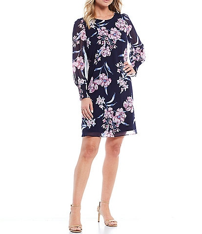 Jessica Howard Long Balloon Sleeve Puff Floral Chiffon A-line Dress