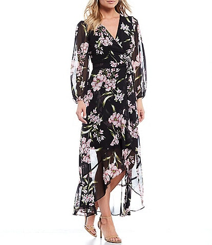 Jessica Howard Long Sleeve Floral Ruffle Wrap Chiffon Midi Dress