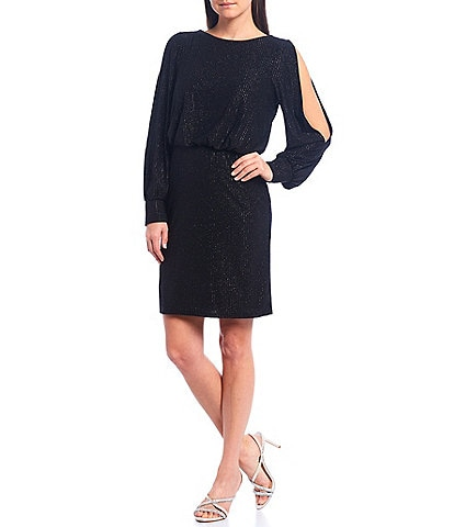 Jessica Howard Long Split Sleeve Blouson Glitter Knit Dress