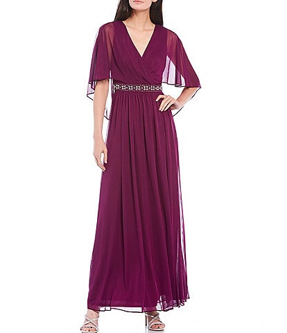 Jessica Howard Matte Jersey Chiffon Beaded Waist V-Neck Caplet Gown