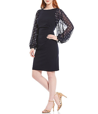 Jessica Howard Metallic Dot Balloon Sleeve Side Tuck Sheath Dress