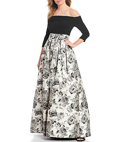 Jessica Howard Metallic Floral Jacquard Off-the-Shoulder Ballgown