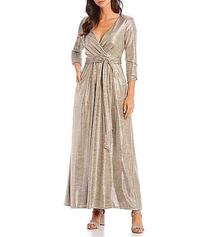 Jessica Howard Metallic Foil Surplice Deep V-Neck 3/4 Sleeve Faux Wrap Gown