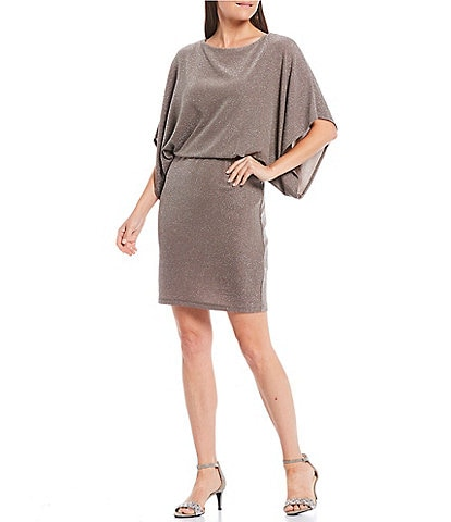 Jessica Howard Metallic Glitter Knit Blouson Dress