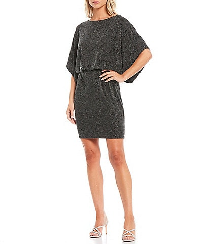 Jessica Howard Petite Metallic Stripe Dolman Sleeve Blouson Dress