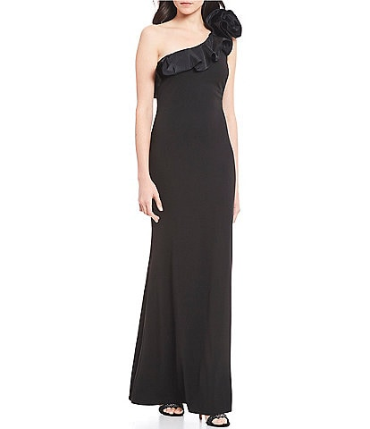 Jessica Howard One Shoulder Rosette Ruffle Stretch Gown