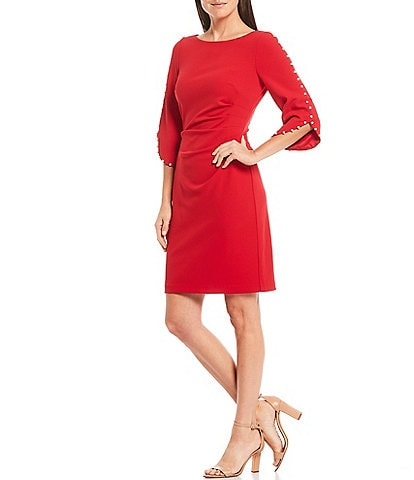 Jessica Howard Pearl Trim Split Sleeve Scuba Sheath Dress