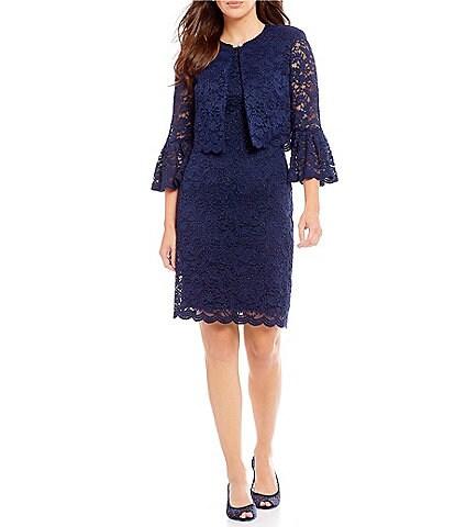 Jessica Howard Petite 2-Piece Lace Bell Sleeve Jacket Dress