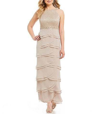 Jessica Howard Petite Layered Skirt Gown