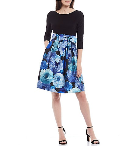 Jessica Howard Petite Size 3/4 Sleeve Bow Detail Floral Mikado Fit & Flare Dress