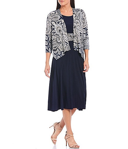 Jessica Howard Petite Size Paisley Print 3/4 Sleeve Drape Front 2-Piece Jacket Dress