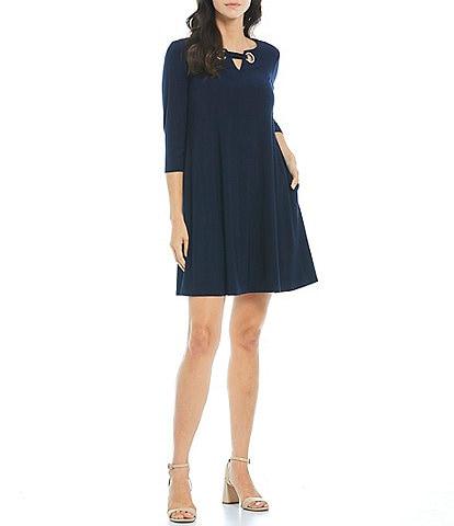 Jessica Howard Petite Size 3/4 Sleeve Grommet Trapeze Dress
