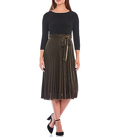 Jessica Howard Petite Size 3/4 Sleeve Pleated Tie-Waist Metallic Dress
