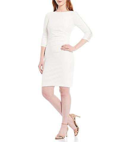 Jessica Howard Petite Size 3/4 Sleeve Side Ruched Sheath Dress