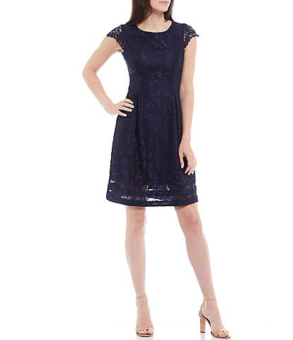Jessica Howard Petite Size Cap Sleeve Lace Fit & Flare Dress