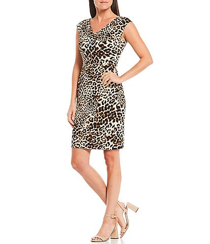 Jessica Howard Petite Size Cap Sleeve Leopard Print Sheath Dress