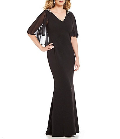 Jessica Howard Petite Size Cape Back V-Neck Gown