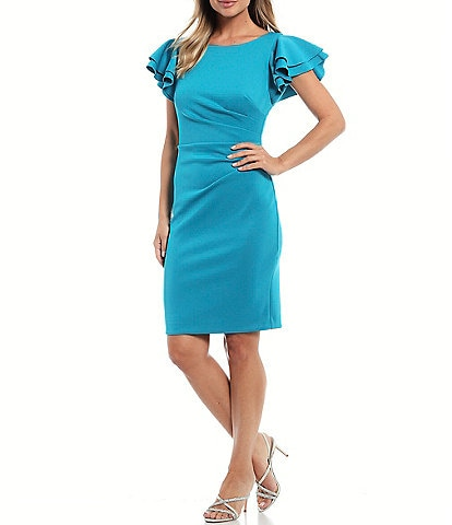 Jessica Howard Petite Size Double Ruffle Sleeve Scuba Crepe Sheath Dress