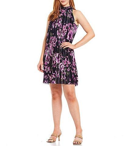 Jessica Howard Petite Size Floral Mock Neck Trapeze Sleeveless Cocktail Dress