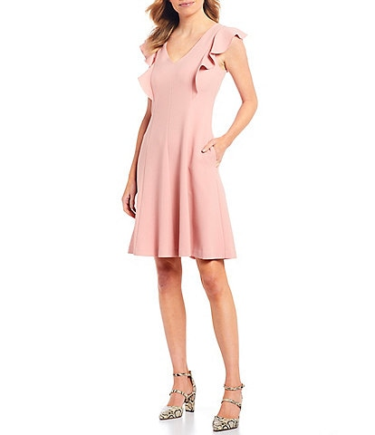 Jessica Howard Petite Size Flutter Sleeve Crepe A-Line Dress