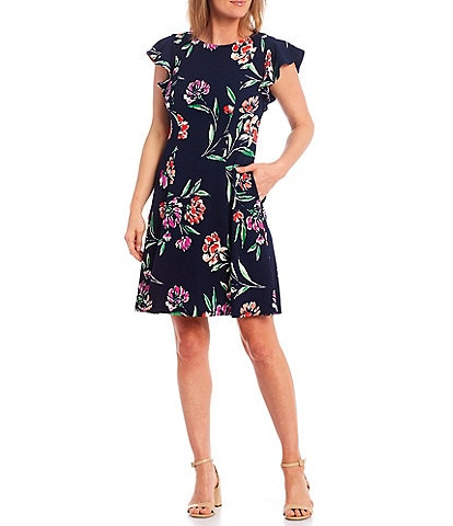 Jessica Howard Petite Size Flutter Sleeve Floral Puff Printed A-Line Dress