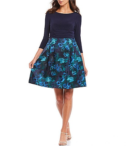 Jessica Howard Petite Size Jacquard Floral Print 3/4 Sleeve Party A-Line Dress
