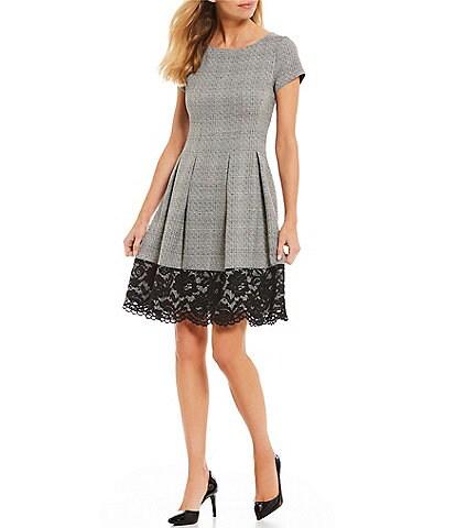 Jessica Howard Petite Size Lace Hem Plaid A-Line Dress