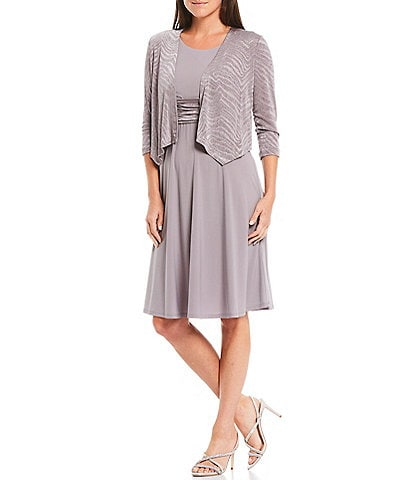 Jessica Howard Petite Size Matte Jersey Tonal Print 2-Piece Jacket Dress