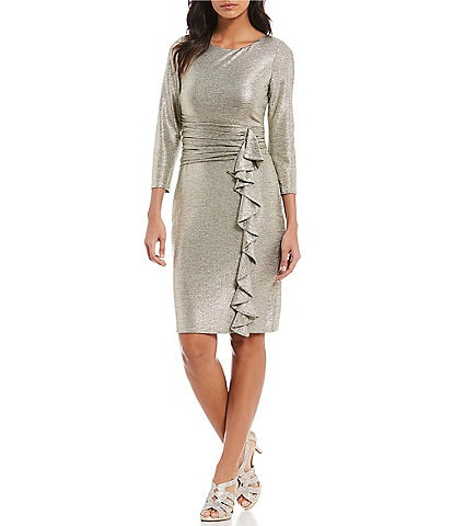 Jessica Howard Petite Size Metallic Ruched Waist Cascade Ruffle Sheath Dress