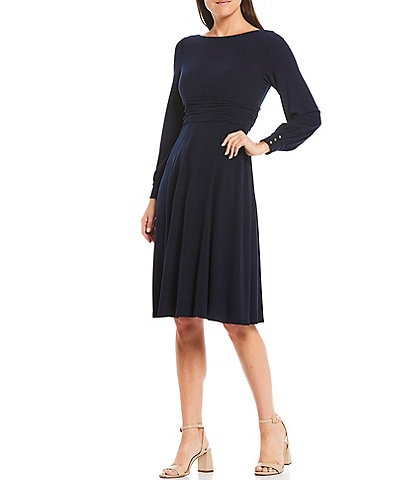 Jessica Howard Petite Size Ruched Waist Long Sleeve Crepe Dress