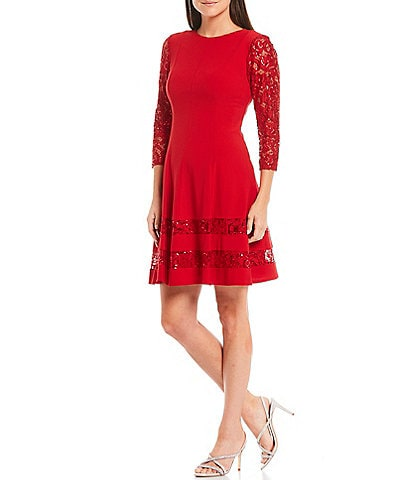 Jessica Howard Petite Size Sequin Lace Illusion 3/4 Sleeve Dress