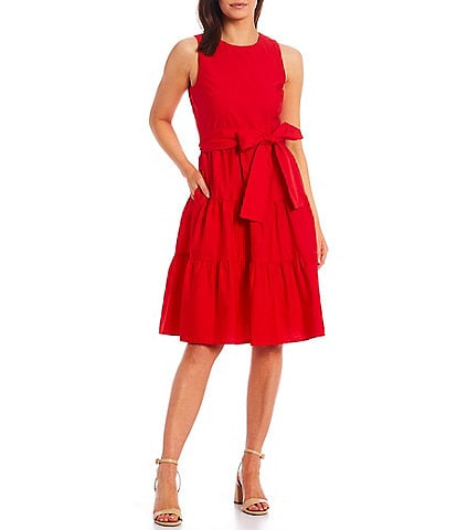 Jessica Howard Petite Size Sleeveless Belted Tiered Dress