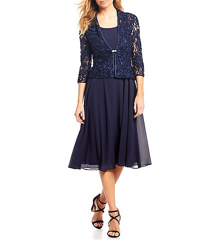 Jessica Howard Petite Size Soutache Lace 2-Piece Midi Length Jacket Dress