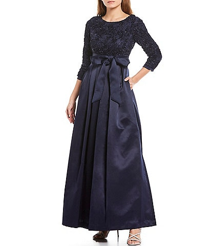 Jessica Howard Petite Size Soutache Lace Sequin Bodice 34 Sleeve Tie Waist Satin Ball Gown with Pockets