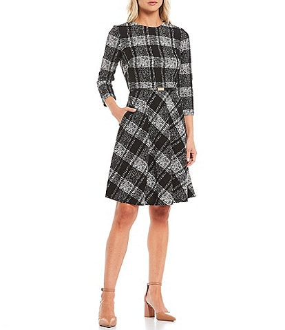 Jessica Howard Plaid Bullet Knit Elbow Sleeve Belted Dress