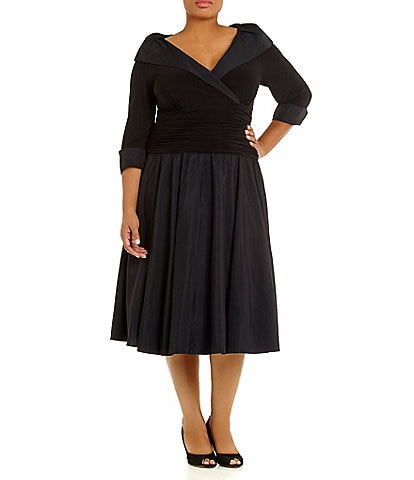 Jessica Howard Plus Portrait-Collar Dress