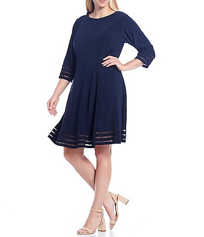 Jessica Howard Plus Size 3/4 Sleeve Solid Fit & Flare Illusion Band Detail Dress