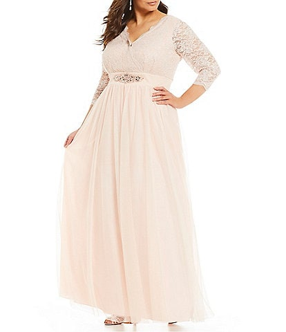 Jessica Howard Plus Size 3/4 Sleeve Surplus Beaded Belt Ballgown