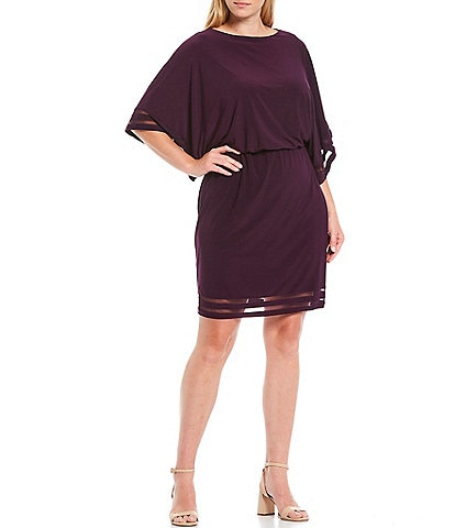Jessica Howard Plus Size Dolman Sleeve Illusion Band Blouson Dress