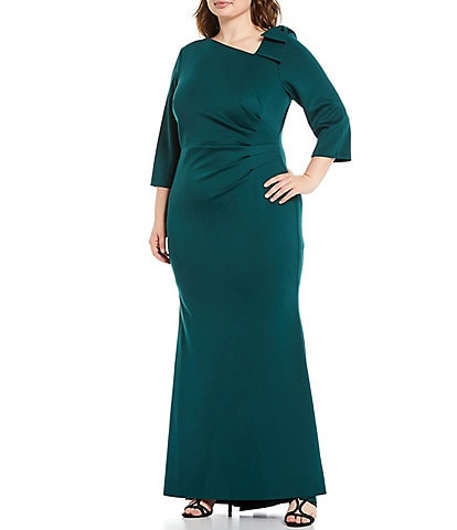 Jessica Howard Plus Size Elbow 3/4 Sleeve Asymmetrical One-Shoulder Neck Side Tuck Gown