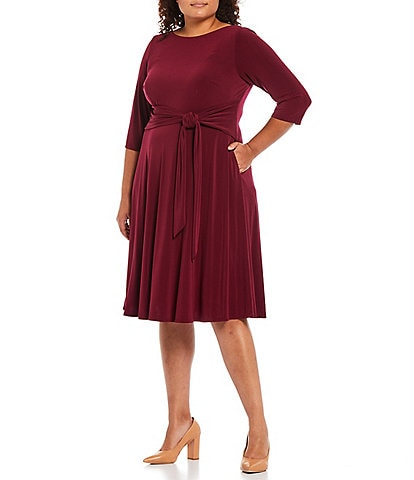Jessica Howard Plus Size Elbow Sleeve Round Neck Belted A-Line Dress