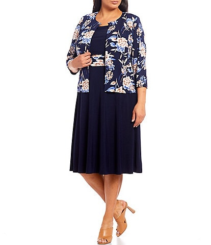 Jessica Howard Plus Size Floral Printed Jersey 2-Piece Jacket Dress