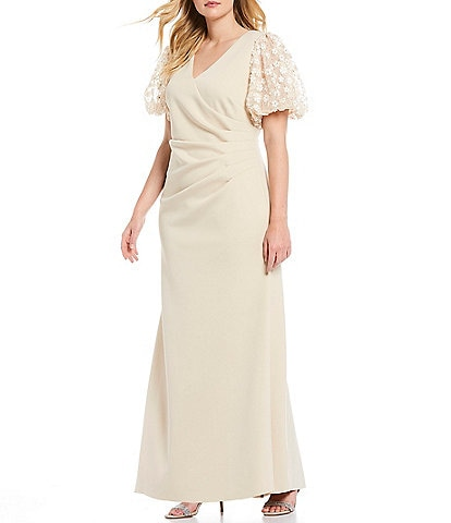 Jessica Howard Plus Size Floral Puff Sleeve Ruched Scuba A-Line Gown