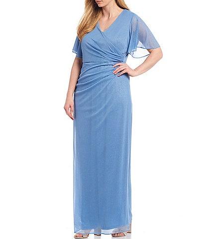 Jessica Howard Plus Size Flutter Sleeve Ruched Glitter Matte Jersey Chiffon Gown
