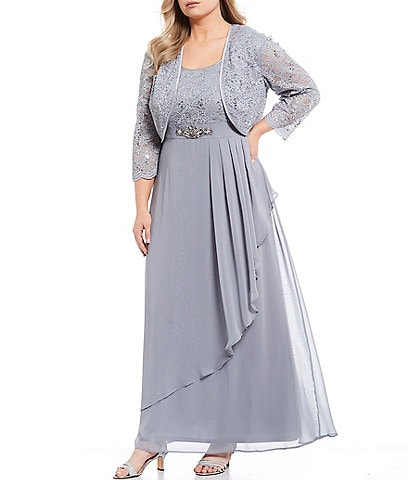 Jessica Howard Plus Size Lace Jacket and Embellished Waist Ruffled Chiffon 2-Piece Gown